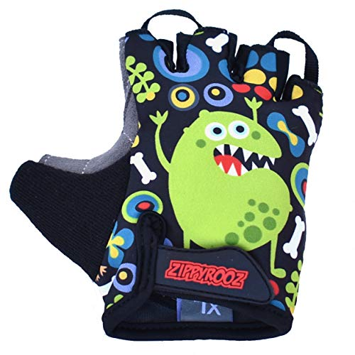 ZippyRooz Toddler & Little Kids Bike Gloves for Balance and Pedal Bicycles for Ages 1-8 Years Old. 8 Designs for Boys & Girls (Monsters, Little Kids Small (1-2))