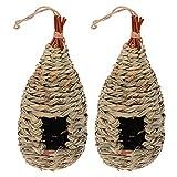 YARNOW 2 Stücke Vogelnester Vintage Vogelhäuschen Grashaus Gewebt Nest Nistkaste Stroh Vogelkäfig zum aufhängen Eichhörnchen Nest Handgewebte Vogelhütte Gras Bird Nest Gartendeko Wanddeko