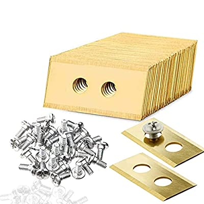 TeeTree 30PCS Stainless Steel Replacement Blades,Blades with 2 Holes,Compatible for Worx Landroid Robotic Lawnmower, Automower Spare Blade, with 60 Screws?Golden?