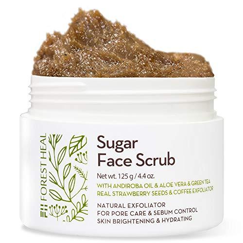 Exfoliante Facial Natural con Azúcar [Forest Heal] Exfoliante Facial y Corporal con Aceite de Andiroba, Semillas de Fresa y Café para la Celulitis, los Poros y el Brillo de la Piel