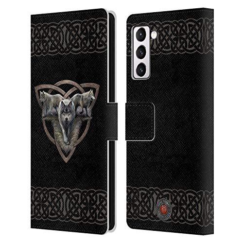 Head Case Designs Licenza Ufficiale Anne Stokes Trio Lupi 2 Cover in Pelle a Portafoglio Compatibile con Samsung Galaxy S21+ 5G