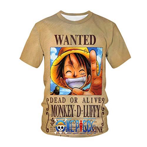 LOOVEE Maglietta One Piece, 3D Luffy Zoro Ace Law Anime Cosplay T Shirt One Piece Manga Moda Casuale Manica Corta Maglietta Tee Maglia Shirt Camicia Camicetta Tops per Uomo e Donna (77,M)