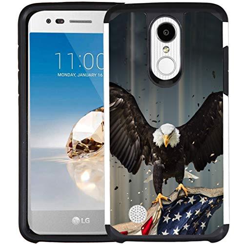 LG Phoenix 4, Rebel 4, Aristo 3, Aristo 2 Plus, Tribute Empire, K8 Plus (2018) Hülle, doppellagig, stoßfest, American Bald Eagle Fliegen mit Fahne