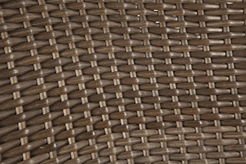 Patioflare PF-CH302S-BR2PK Premium Wicker Adirondack Chair 2 Pack Brown And Sunbrella Linen Sesame