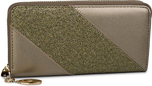 styleBREAKER Geldbörse mit Glitzer Pailletten Streifen, umlaufender Reißverschluss, Portemonnaie, Damen 02040089, Farbe::Taupe