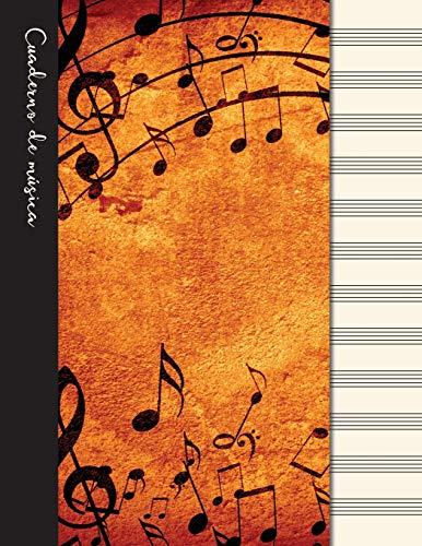 Cuaderno de música: Cuaderno de pentagramas - Cubierta marrón (Cuadernos de música)