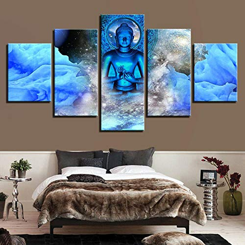 JJJKK Canvas Picture - 5 Piece - Prints On Canvas - 5 Part Panels - Buddha Statue MeditationYoga - Ready to Hang - wall art print - Completely framed - Home Decor