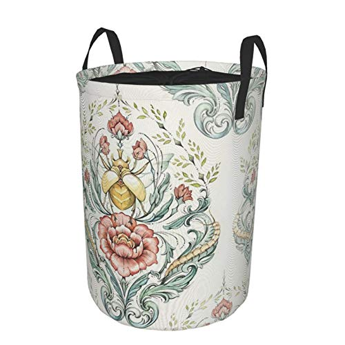 Laundry Basket,Aqua Triangles Eat Well Travel Often Hamper Bag Large Foldable Collapsible Accessories Drawstring Waterproof for Bedroom,Nursery Room,Toys Room