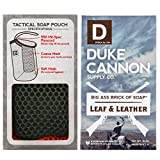 Duke Cannon Soap on a Rope Set for Men: Tactical Scrubber Soap Pouch + Big Brick of Soap - Leaf + Leather, 10oz