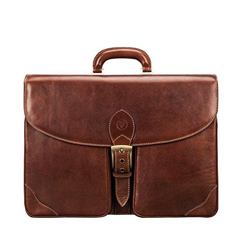 Maxwell Scott® Lujoso maletín de negocios en cuero Italiano color terracota (Tomacelli)