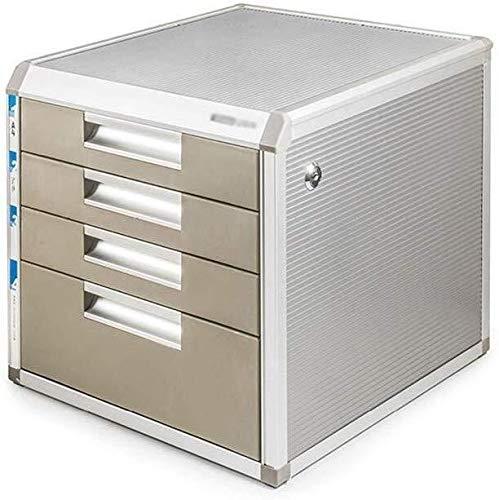 Opbergsystemen Afsluitbare aluminiumlegering Data Storage Box Tablet Office Desktop ladekast Convenient File Classification kantoorbenodigdheden schrijfwaren 4-Layers bruin