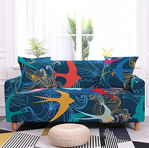 Pájaros Amarillos Azules Funda de sofá de 1 Plazas Funda Elástica para Sofá Poliéster Suave Sofá Funda sofá Antideslizante Protector Cubierta de Muebles Elástica