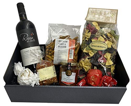 Präsentkorb Italien mit Rotwein, Pasta, Sugo, Grissini, Bruschettagewürz und Ameretti | für einen italienischen Abend zu zweit