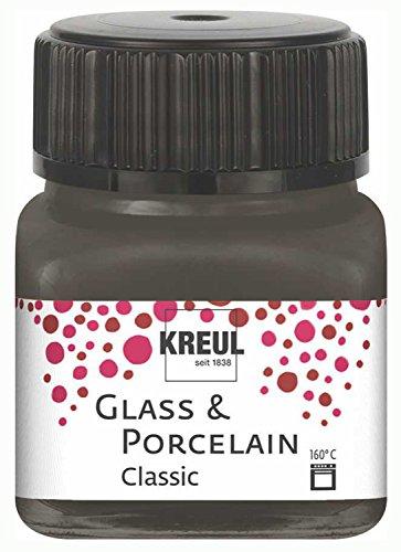 Kreul 16226 - Glass und Porcelain Classic, brillante Glas- und Porzellanmalfarbe auf Wasserbasis, schnelltrocknend, deckend, 20 ml im Glas, dunkelbraun