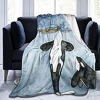 超柔らかいマイクロフリース毛布、灰色の水彩画カードの海の背景に女の子がボートに乗ってシャチと遊んでいる、ソファベッド用の家の装飾暖かいスロー毛布