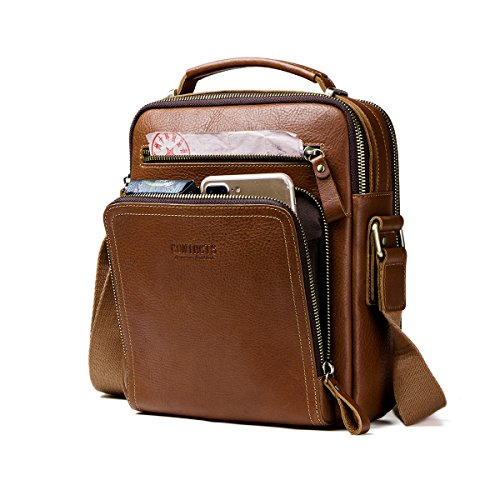 Contacts Cuero real para hombre iPad Mini Tab Messenger CrossBody bolso de mano marrón