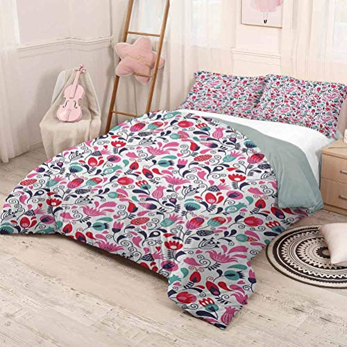 HELLOLEON (Full) Tulip Pure Bedding Hotel Luxury Bed Linen Floral Background with Linked Swirling Tulip and Branches Fresh Ornate Artistic Polyester - Soft and Breathable Pink Teal Red