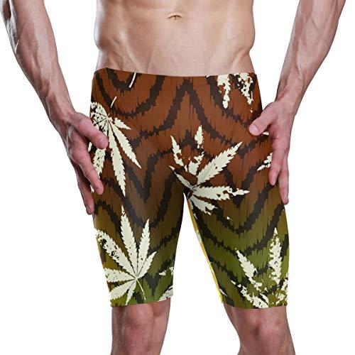 MONTOJ Herren Badehose Rastafarian Grunge Hanf Blätter Muster Sommer Boardshorts Badehose Badeanzug S-XXXL Gr. S, 1