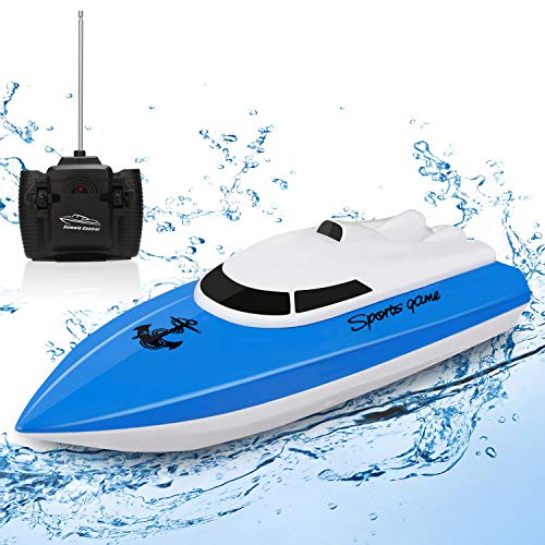 SZJJX RC Boat, Remote Control Racing Boats for Pools and Lakes, 10KM/H Mini Speed Boat Toys Outdoor Adventure Electric 4 Channels for Kids,Don't Buy Two Boats in The Same Color Blue