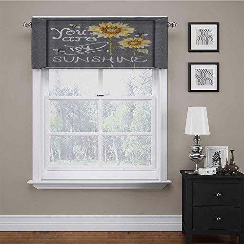 Curtain Valance You are My Sunshine Quote on a Black Board with Bees and Sunflowers Printing Window Curtain Valance Add Some Color and Brightness Into Kitchen Gray Yellow 42 x 18 Inch