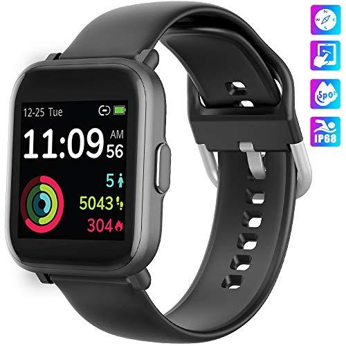Smartwatch, KUNGIX Armbanduhr Damen Herren Fitness Tracker mit Blutsauerstoff-Monitor(SpO2) Voller Touch Screen Fitness Armband, 5ATM wasserdichte Fitness Uhr mit Herzfrequenz Schlaftracker für iOS