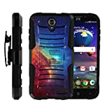 TurtleArmor | Compatible with ZTE Grand X 3 Case | ZMax Champ | Warp 7 [Hyper Shock] Hybrid Dual Layer Armor Holster Belt Clip Case Kickstand - Colorful Nebula Galaxy