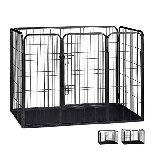 Relaxdays Welpenauslauf Größe XL mit Boden, Laufstall für kleine Hunde, Kaninchen und Welpen, 90 x 125 x 78 cm, schwarz