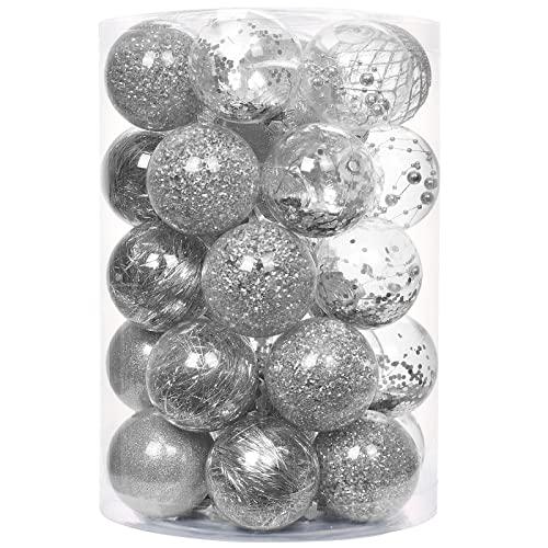 decorazioni natalizie argento YILEEY Decorazioni Albero di Natale 34 D'argento Palle di Natale