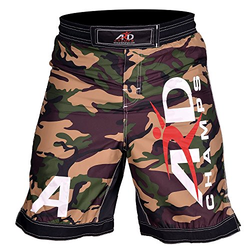 ARD Camo Pro MMA Fight Shorts Camouflage UFC Cage Fight Grappling Kickboxing Yellow (Large)