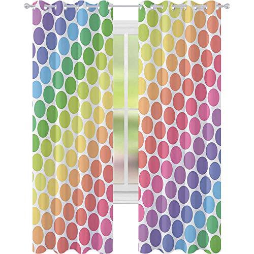 Mörkläggningsgardiner för rum, prickiga prickar i mjuka regnbågsfärger stora poäng eviga former retro konstfullt mönster, B 52 x L63 mörkläggningsgardinpaneler för barn sovrum, multi