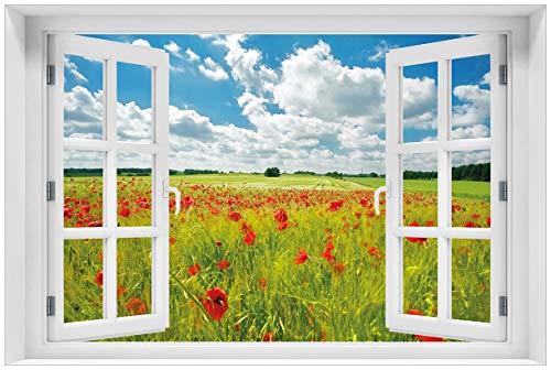 Wallario Acrylglasbild mit Fenster-Illusion: Motiv Grüne Wiese mit Mohnblumen - 60 x 90 cm mit Fensterrahmen in Premium-Qualität: Brillante Farben, freischwebende Optik