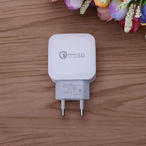 QC 3.0 Adaptador de Carga rápida y rápida Viaje a casa Enchufe de CA Teléfono USB Cargador de Pared Accesorios para teléfonos móviles Enchufe de EE. UU. UE (Blanco) (Togames)