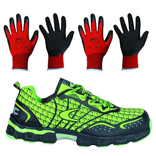 Sicherheitsschuhe Cofra Low Kick Limes S1 Für Damen Und Herren Im Sportlichen Design Arbeitsschuhe Atmungsaktiv Schutzschuhe inkl. 2 Paar Arbeitshandschuhe Montagehandschuhe Größe 9 & 10 (Numeric_45)