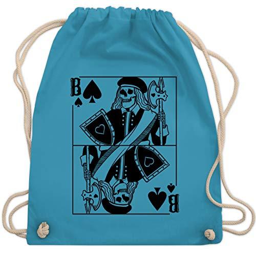 Karneval & Fasching - Spielkarte Bube - Pik - Totenkopf - schwarz - Unisize - Hellblau - Kartenspiel - WM110 - Turnbeutel und Stoffbeutel aus Baumwolle