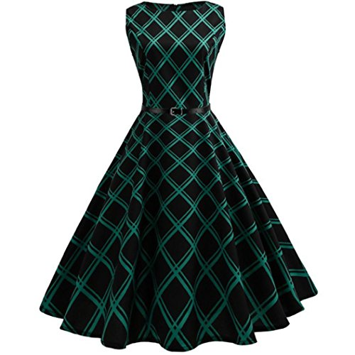 MRULIC Damen Ballkleider Vintage Note Muster ärmelloses Abend Party Prom Swing Kleid Rockabilly Retro Kleid Petticoat Faltenrock(Grün,EU-40/CN-L)