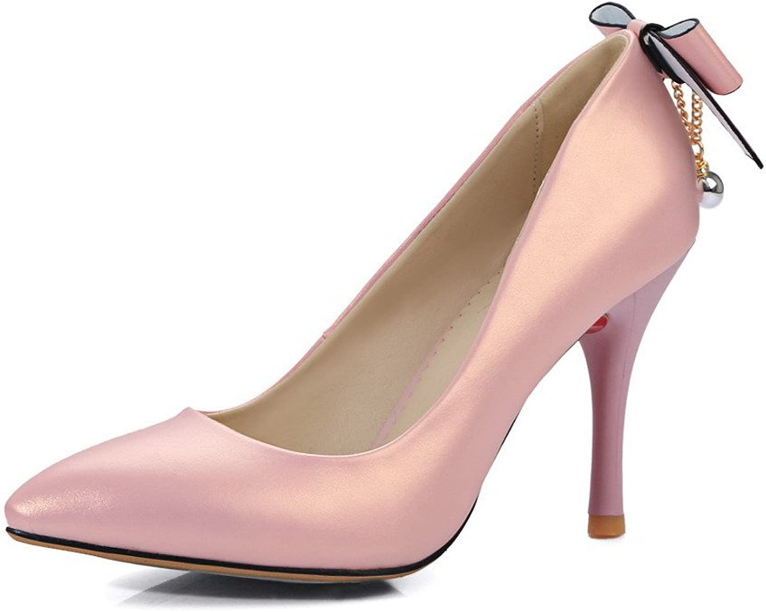 AllhqFashion Women's High Heels Solid Pull On Pointed Closed Toe Pumps-shoes