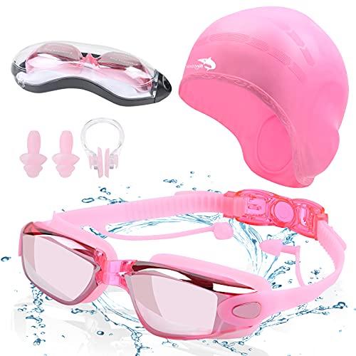 flintronic Gafas de natación, gafas de natación antivaho sin fugas, gafas de natación para adultos con protección UV de visión clara para hombres y mujeres…