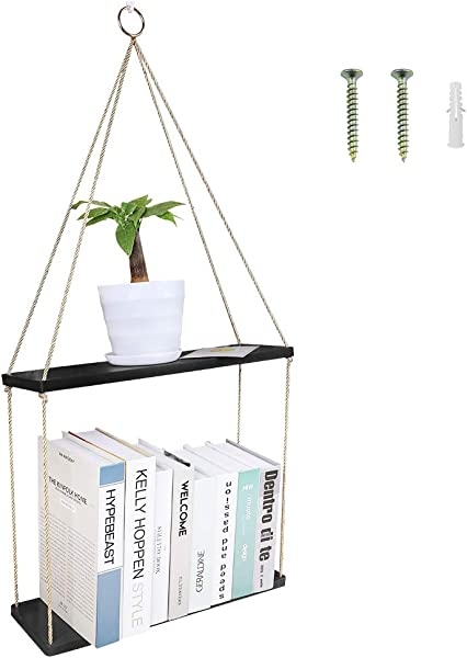 Dream Allison Hanging Wall Shelf Wood Floating Swing Rope Shelves 2 Tiered Wall Decor For Storage Display 13 7 5 5 M Black