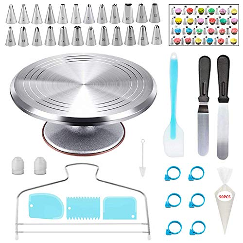 YOQXHY 92 Pcs Cake Decorating Kit Supplies with Aluminium Alloy Rotating Cake Turntable amp Leveler24 Numbered Icing Tips3 Spatulas3 Comb Scrapers2 Couplers50 Disposable Pastry Bags