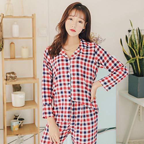 XFLOWR Lente Katoen Pajama Suit Dames Pyjama Lange mouwen Pijamas Rode Plaid Slaapmode Ondergoed Slaap Lounge Thuis Kleding