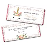 Unicorn Party Supplies Personalized Birthday Wrappers for Hershey's Chocolate Bars (25 Count) - Pink Foil