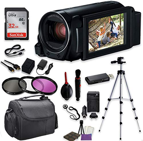 Canon VIXIA HF R800 Camcorder (Black) Video Professional Bundle with Sandisk 32 GB SD Memory Card + Filters + Case + Accessory Bundle