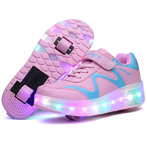 Nsasy Roller Skates Shoes Girls Boys Pink Double Wheels Sneakers with Velcro LED Lace up Sport Shoes for Kids Birthday Halloween Thanksgiving Christmas Day Best Gift