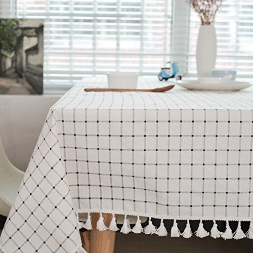 meioro Tischdecke Tischtuch Stoff Karierte Tischdecken im mediterranen Stil Frische und kunstvolle Tischwäsche aus Baumwolle und Quasten Rechteckige Couchtisch Tischdecken(130 x 180 cm)
