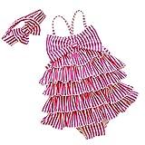 YONKINY Costume da Bagno Bambina Carino Strisce Costume Intero con Bowknot Fascia Capelli Costume Mare Piscina Bimba Beachwear Swimsuit (Rosa, 4-5 anni-110)