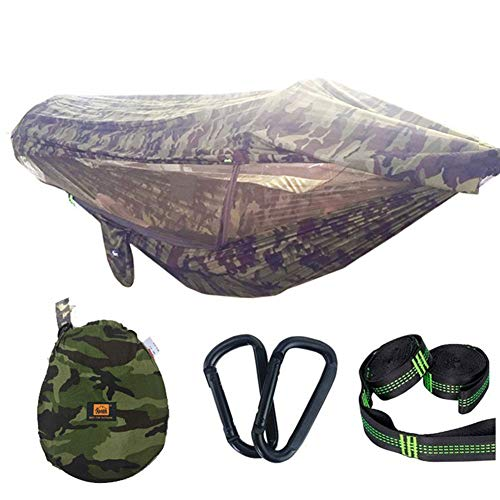 YFGRD Hammock Camping 2 Persons with Mosquito and Umbrella/Rain Cover Camouflage Double Hammock,Green,270x140cm