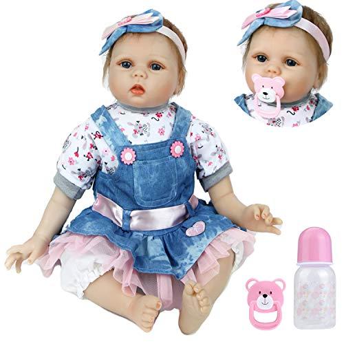haojiaa Realistica 55 cm Bambole Reborn Bambina Bambola Reborn Femmina La Bambola Indossa di Jeans Blu Bambolotti di Silicone Bambini Giocattoli 22 Pollice