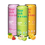 EBOOST Super Fuel Natural Nootropic Energy Drink | Electrolytes + Vitamins (B12) + Milk Thistle | Sports Preworkout Drink, Healthy Mixer, Travel, Work/Study (12 Fl oz, 24 Pack) (Variety Pack)