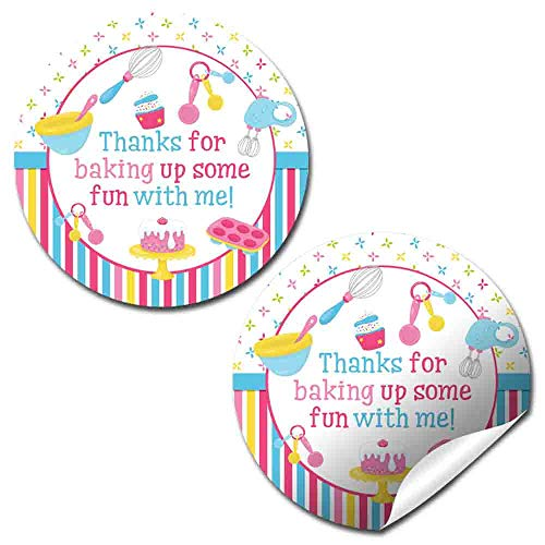 Bake Up Some Fun Cooking & Baking Birthday Thank You Sticker Labels for Girls, 40 2' Party Circle Stickers by AmandaCreation, Great for Party Favors, Envelope Seals & Goodie Bags