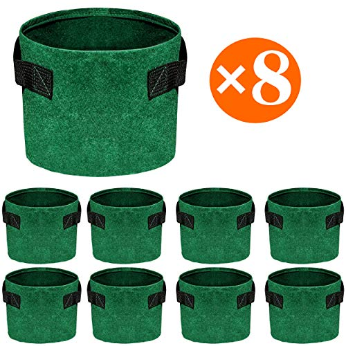 Soyizom 8 Pack Durable Plant Grow Bags 1/2 / 3 Gallon Fabric Pots with Handles,Grow Containers for Vegetable/Flower/Nursery.(Green,8 Pack/1 Gallon)